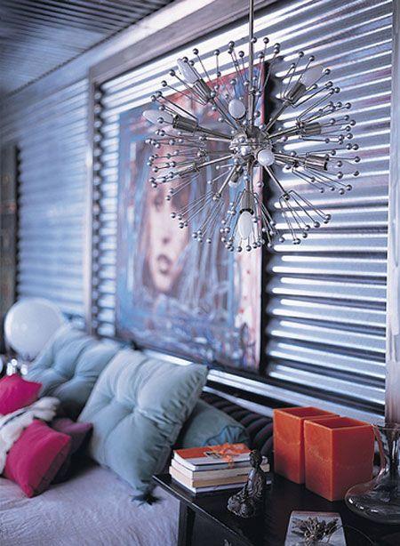 decoración metal corrugado